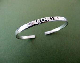 Pi Cuff Bracelet - Math Jewelry - 3.14159625 Bracelet - 1/5 inch cuff