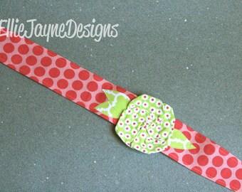 Whimsy Wrap Jenny Eliza Pink Dots Green rose Fabric headband