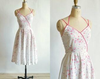 1970s Sun Dress --- Vintage Pink Summer Dress