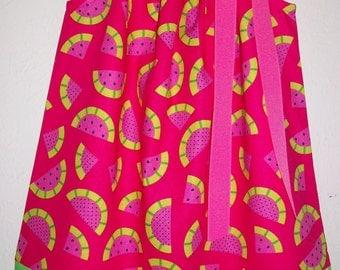 Pillowcase Dress Watermelon Dress Hot Pink and Lime Green Girls Dress with Fruit Summer Dress Watermelon Party baby dress toddler dress