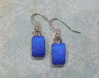Dichroic Blue Earrings, Dangle Earrings, Fused Glass Jewelry - Drama - 2076 -5