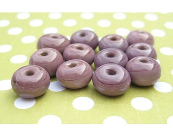 12 Purple Lampwork Spacer Beads - Rondelle Beads - Handmade Lampwork - 8mm Beads - Round Beads - DIY Jewelry Beads - SRA Lampwork LW07