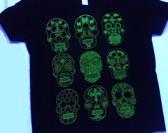 Sugar Skull Glow in the Dark Youth Tee Size 8 or 12