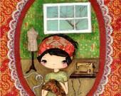 Seamstress Print Sewing Room Whimsical Mixed Media Wall Art---The Seamstress