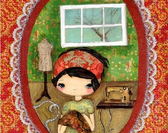 Seamstress Print Sewing Room Whimsical Mixed Media Wall Art---The Seamstress