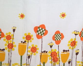vintage fabric MOD flowers - 60s border print - retro geometric flower power - orange and yellow