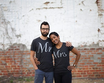 Mr. and Mrs. Tshirt set, wedding gift, his and hers graphic tees, bride and groom, couples shirts, Valentines Day