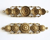Vintage style brass medallion connectors 55x13mm (2)