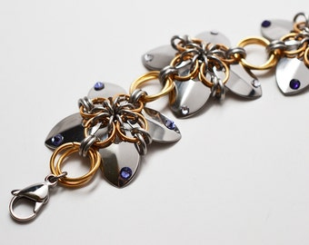 Steel & brass scale maille flower chainmaille bracelet or anklet with Swarovski crystal accents