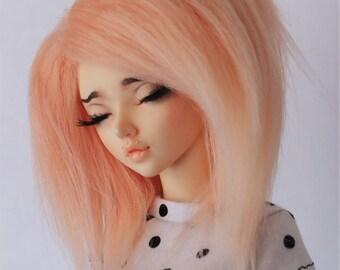 "BJD wig Minifee MSD 7"" Hand colored tangerine short fake fur wig MonstroDesigns"