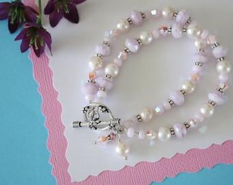 Pink Double Strand Bracelet, Chunky Bracelet, Pink, Pearl Bracelet, Crystal Bracelet, Crystal