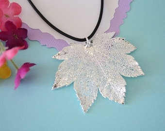 Real Full Moon Maple Leaf, Real Silver Leaf, Maple Leaf Necklace, Sterling Silver, LL143