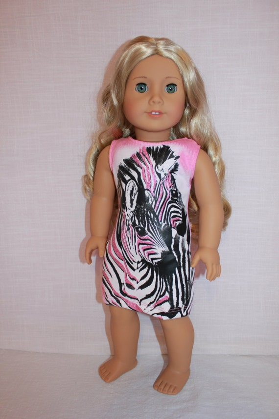 18 inch doll clothes, zebra graphic print tank dress , pink sleeveless doll dress, american girl, maplelea