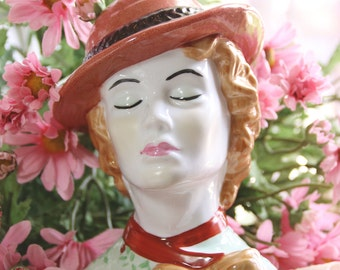 Vintage Lady Head Vase With Hat And Brown Hair Vintage Collectible