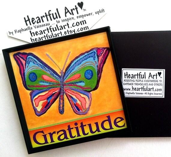 GRATITUDE Butterfly Inspirational Motivational Print Positive Affirmation Family Friend Recovery 12 Step Heartful Art by Raphaella Vaisseau