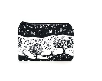 Woods at Night Zipper Pouch / Small Camera Bag / Cute Makeup Bag with Fox and Owl
