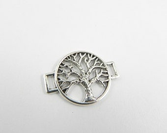 10 Silver Tree Link Slide Connectors  - 27mm x 20mm - Double Sided - Tree Branches - Round - Light Weight