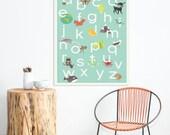 Alphabet Print 18x24 Nursery Wall Art, Animal Themed, Kid's Art Decor, Gender Neutral Nursery, ABC, Children's R