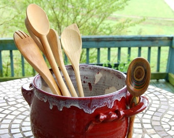 Kitchen Utensil Holder in Red Agate - Made to Order