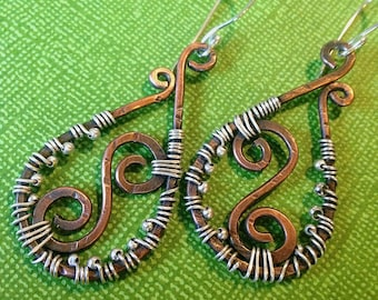 WILDWOOD Mixed Metal Rustic Teardrop and Swirl Dangles in Copper and Sterling by Meshel Designs