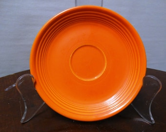 Vintage Genuine Fiesta Kitchenware Orange Coffee Saucer retro 50's fruit bowl, classic Dinnerware Art Deco style HLO, Made in USA