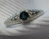 Indicolite Tourmaline Sterling Silver Ring