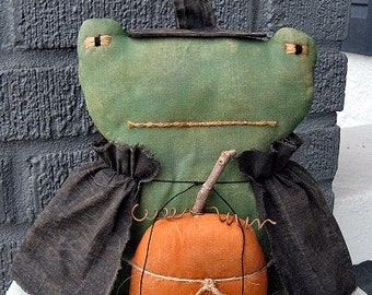Frog Witch EPATTERN...primitive country halloween cloth doll craft digital download sewing pattern...PDF...1.99