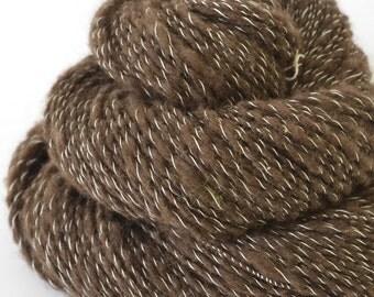 Handspun Yarn - Yak Dawn and Silk Yarn  - Russian Spindle Spun Yarn - 1oz, 215yd, 17WPI