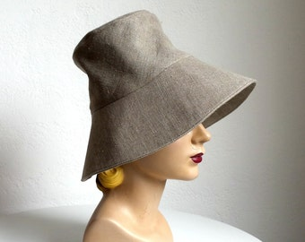 Sun Hat in Taupe Linen - Women's Beach Hat - Made to Order