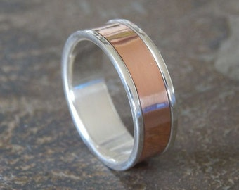 RUGGED Silver & Copper 6 to 8mm // Men's Wedding Ring // Women's Wedding Ring // Men's Wedding Band // Women's Wedding Band // Unique Band
