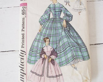 Vintage Civil War Costume Pattern - 34 Bust - Simplicity Centennial Hoop Petticoat and Pantalets
