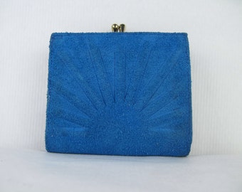 vintage 1960s Blue Suede Sunburst Wallet - vintage leather French Purse by Rumpp