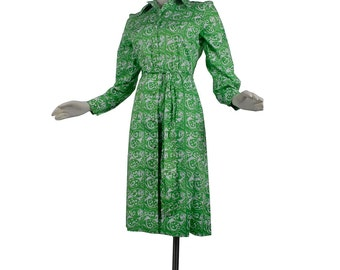 Vintage 70s Dress - 70s Shirtwaist Dress - 70s Novelty Print Dress - Green White  - Fish Print - Preppy Dress - L - Large - XL - Screenprint