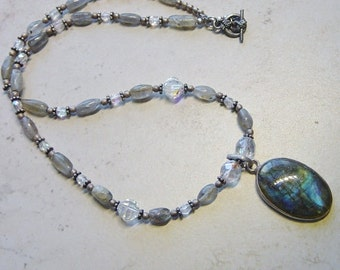 Labradorite and Silver Necklace with Glass Crystals