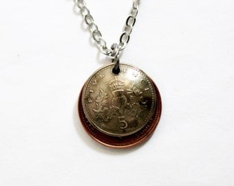 Domed Coin Necklace Layered Great Britain Coins United Kingdom 5 Pence 1990 1 Penny 1996 Repurposed Eco-Friendly Jewelry by Hendywood