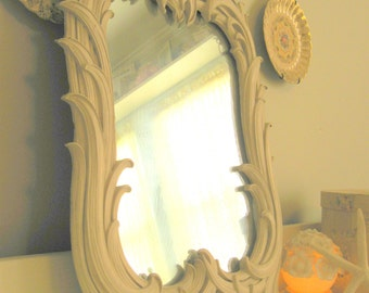Large Ivory Syroco or Gesso Standing Vanity Mirror White