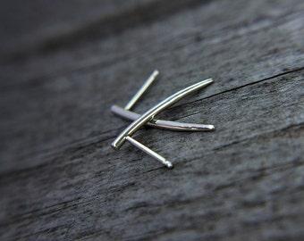 Minimalist earrings - spike earrings - sterling silver fang earrings - modern jewelry - edgy simple posts - studs