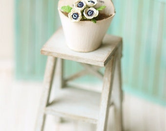 Dollhouse Miniature Plant - White Anemone Flowers in French Chic Planter