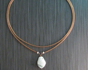 Peruvian White Opal Short Pendant Necklace - Double Layer Chain Choker Necklace - Bronze and White Faceted Stone - Chunky Chain Necklace