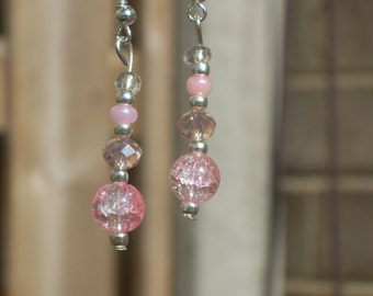Long Pink Earrings, Pink Drop Earrings, Pink Dangle Earrings, Crystal Earrings, Mothers Day Gift, Valentines Gift,Gift For Her, Gift For Mum
