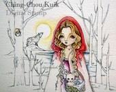 Walk Unafraid - Digital Stamp Instant Download / Animal Wolf Rabbit Bunny Red Riding Hood Woods Fantasy Fairy Girl Art by Ching-Chou Kuik