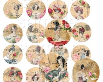 INSTANT DOWNLOAD - 1 Inch Circles  - Jane Austen Postcards -  Printable Digital Collage Sheet - Digital Download