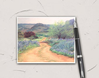 Meander Through My Meadow, Note Card, 4x5, set of 6, Blank, stationary, Pastel Art Print, landscape, garden, countryside, impressionism
