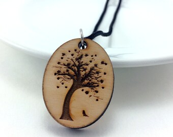 Essential Oil Jewelry, Wood Tree Necklace, Aromatherapy Pendant, Laser Cut Jewelry, Wooden Tree Pendant, Wood Necklace, Gift for Her