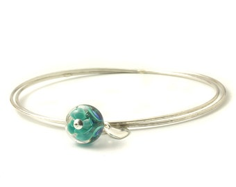 Sterling Silver Charm Bangles | Lampwork Glass Charm Bangles | Slim Silver Bangles with Heart Charm | Petal Collection | UK