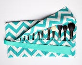 Large Makeup Brush Roll Holder, Chevron Teal Turquoise and White - In Stock Ready To Ship