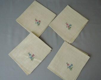 Vintage Napkins Embroidered Floral Linen set of 4 handmade 1940s, Pink & Blue Flowers, Linens