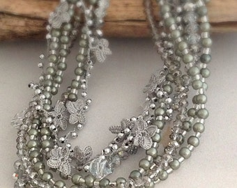 bohemian bride Chunky Bridal Pearl and Rhinestone Necklace with handcrocheted flowers