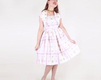 50s 60s White Lavender-Pink and Olive Green Plaid Cotton Sundress & Bolero S M
