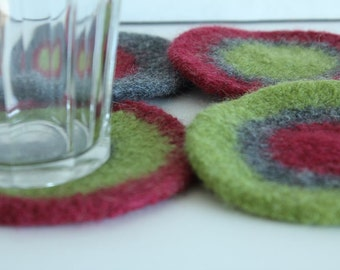 Coasters - Hand-knit Felted Wool - Green, Cranberry, Gray
